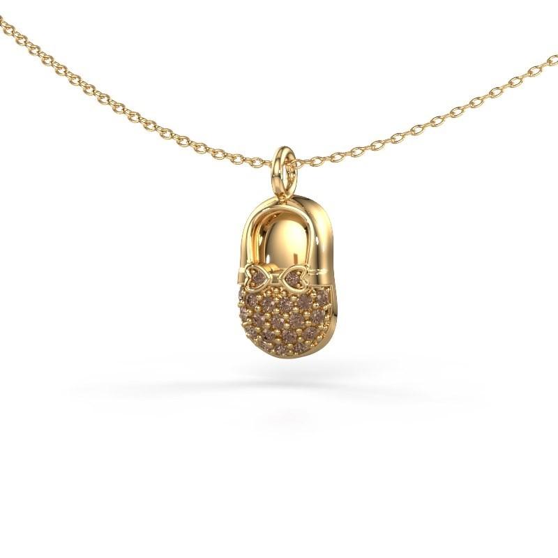 Hanger Babyshoe 585 goud bruine diamant 0.193 crt