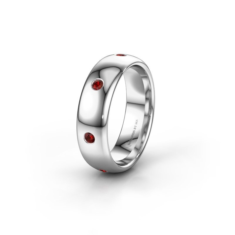 Wedding ring WH0105L36BP 950 platinum garnet ±6x2 mm