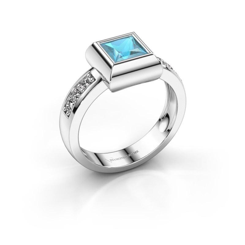 Ring Charlotte Square 585 white gold blue topaz 5 mm