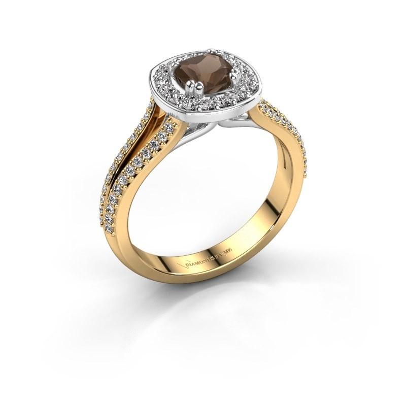 Engagement ring Carolina 2 585 gold smokey quartz 5 mm
