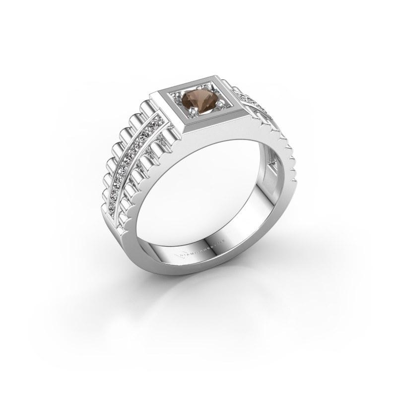 Men's ring Maikel 585 white gold smokey quartz 4.2 mm