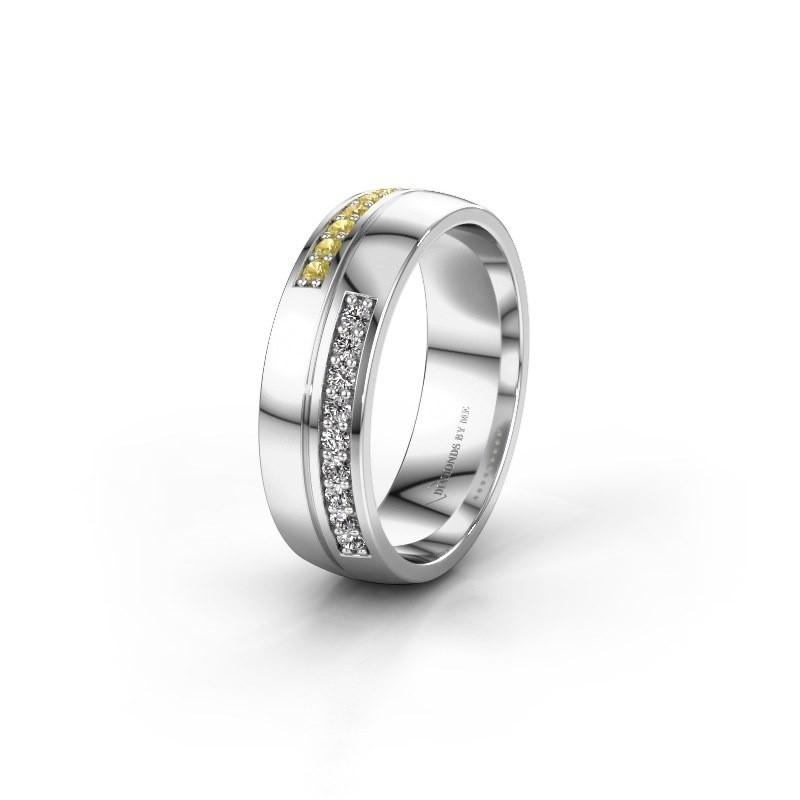 Wedding ring WH0213L26AP 950 platinum yellow sapphire ±0.24x0.07 in