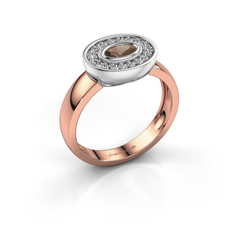 Bague Azra 585 or rose quartz fumé 5x3 mm