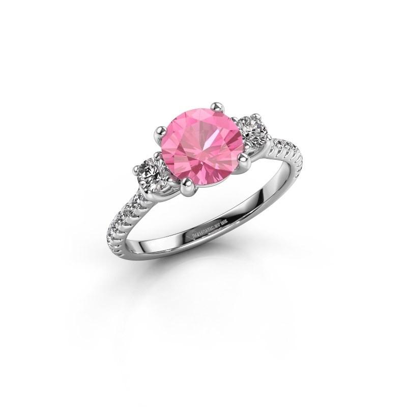 Verlovingsring Jesica 585 witgoud roze saffier 7 mm