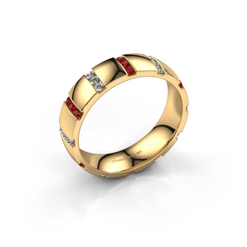 Weddings ring Juul 375 gold ruby ±0.20x0.08 in
