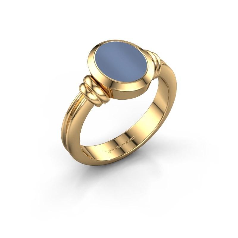 Zegelring Jake 1 F 585 goud licht blauwe lagensteen 10x8 mm