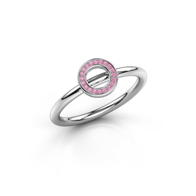 Bague Shape round small 950 platine saphir rose 0.8 mm