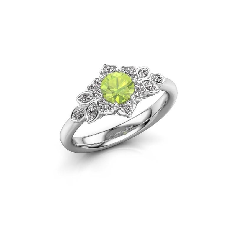 Engagement ring Tatjana 585 white gold peridot 5 mm