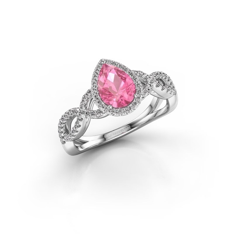 Engagement ring Dionne pear 585 white gold pink sapphire 7x5 mm