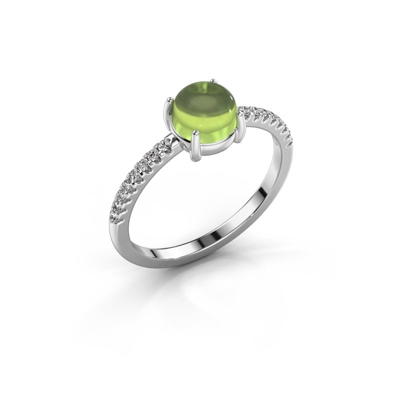 Ring Cathie 585 witgoud peridoot 6 mm