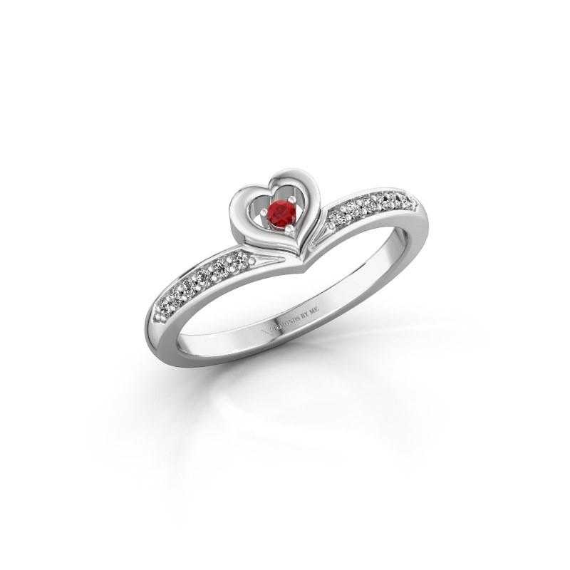 Ring Mimi 925 zilver robijn 2 mm