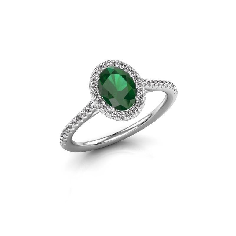 Engagement ring Seline 2 950 platinum emerald 7x5 mm