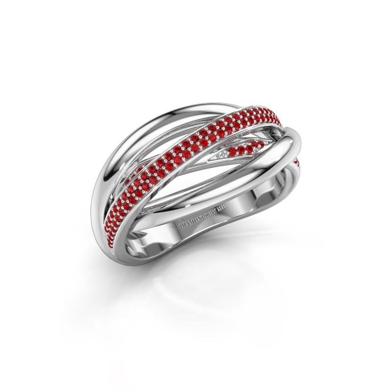 Ring Candice 585 witgoud robijn 0.8 mm