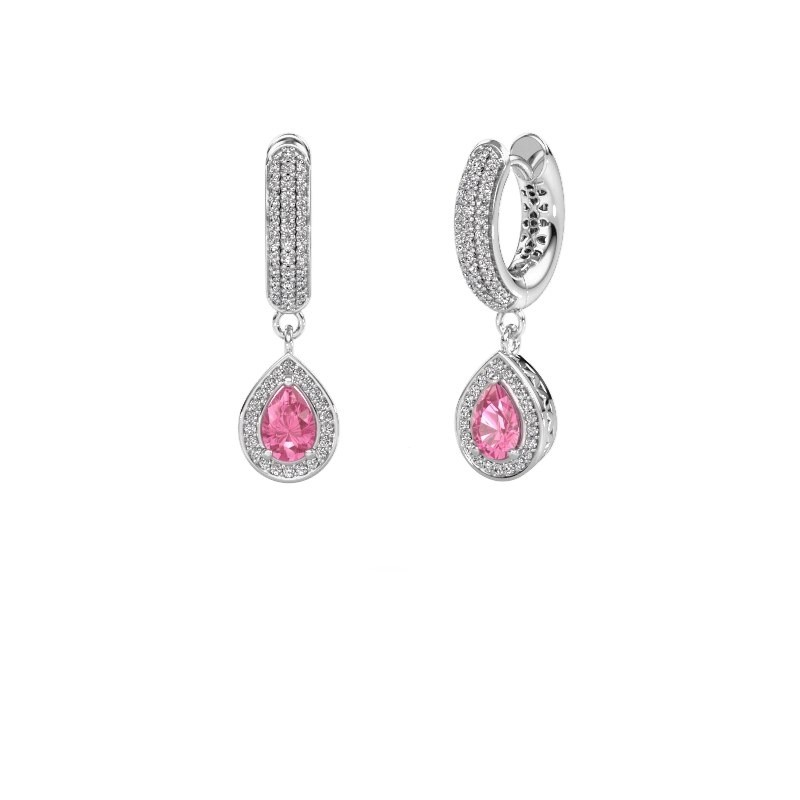 Drop earrings Barbar 2 375 white gold pink sapphire 6x4 mm