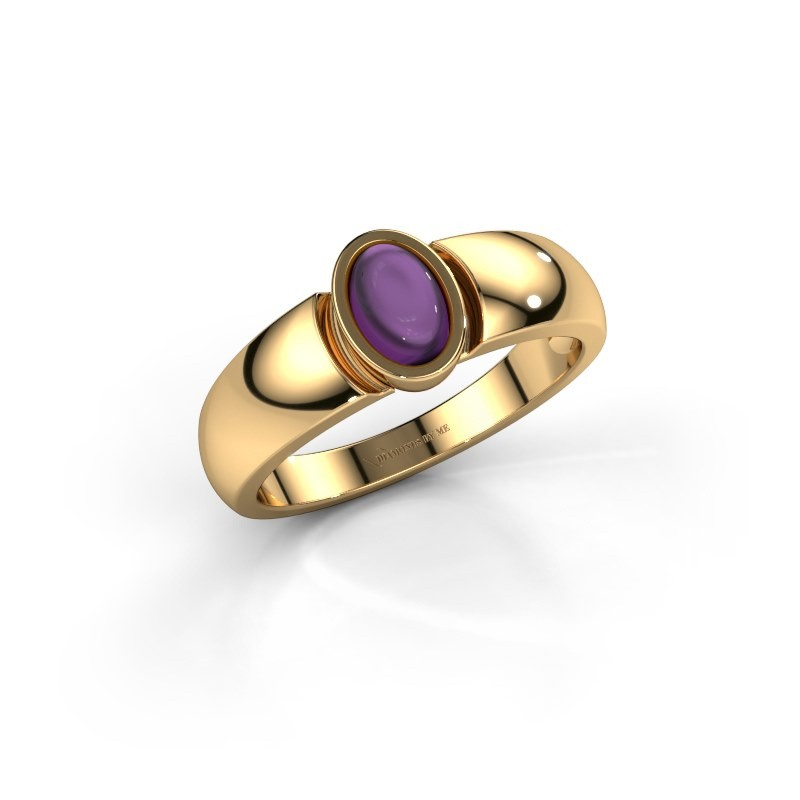 Ring Tonneke 585 gold amethyst 6x4 mm