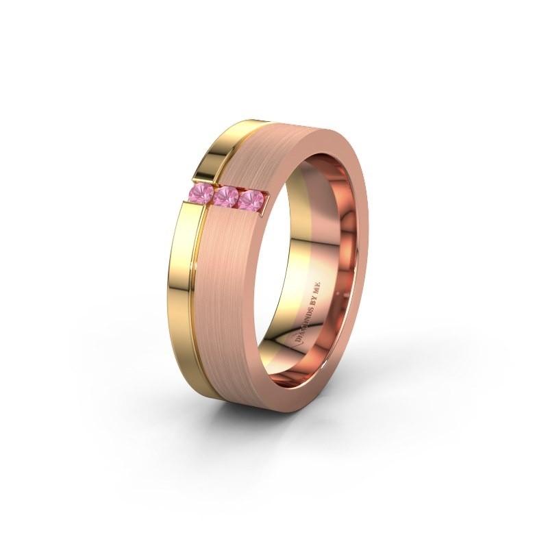 Trouwring WH0327L16B 585 rosé goud roze saffier ±6x2 mm