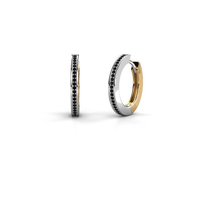 Creolen Renee 4 12 mm 585 witgoud zwarte diamant 0.456 crt