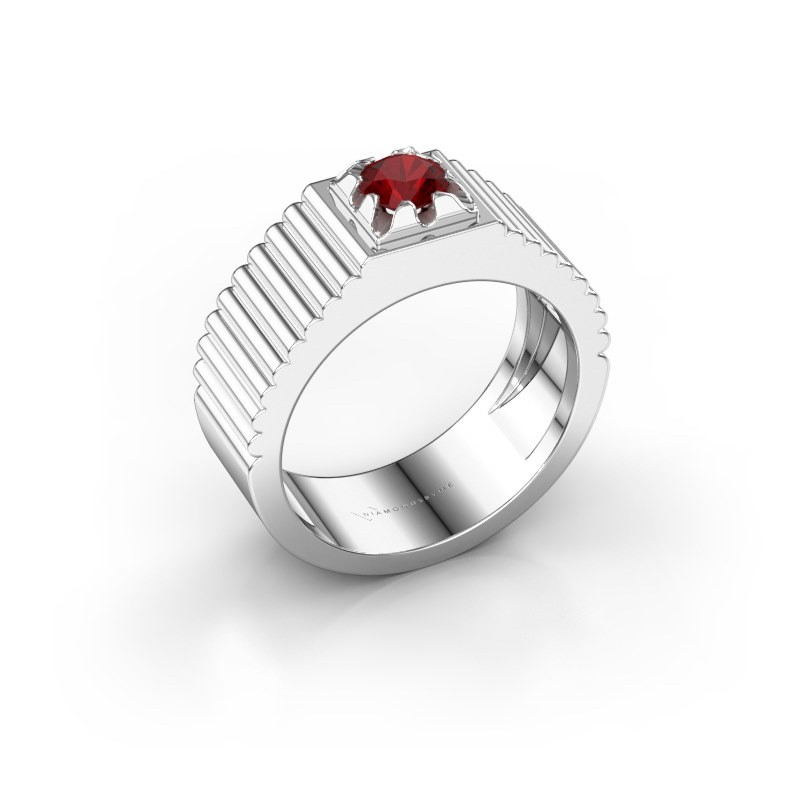 Pink ring Elias 585 witgoud robijn 5 mm
