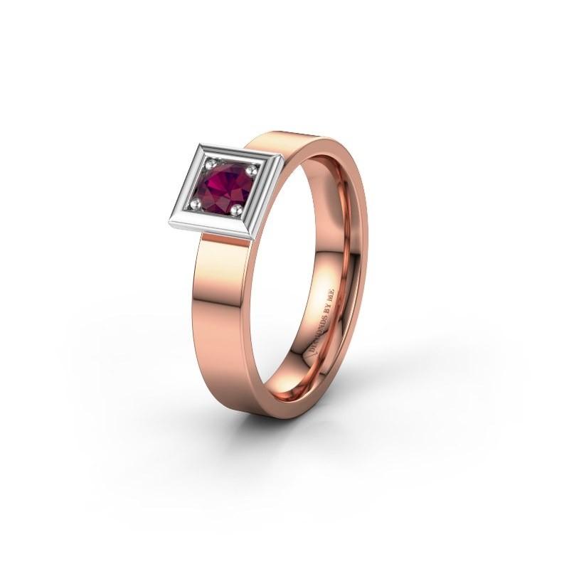 Trouwring WH2112L14A 585 rosé goud rhodoliet ±4x1.7 mm