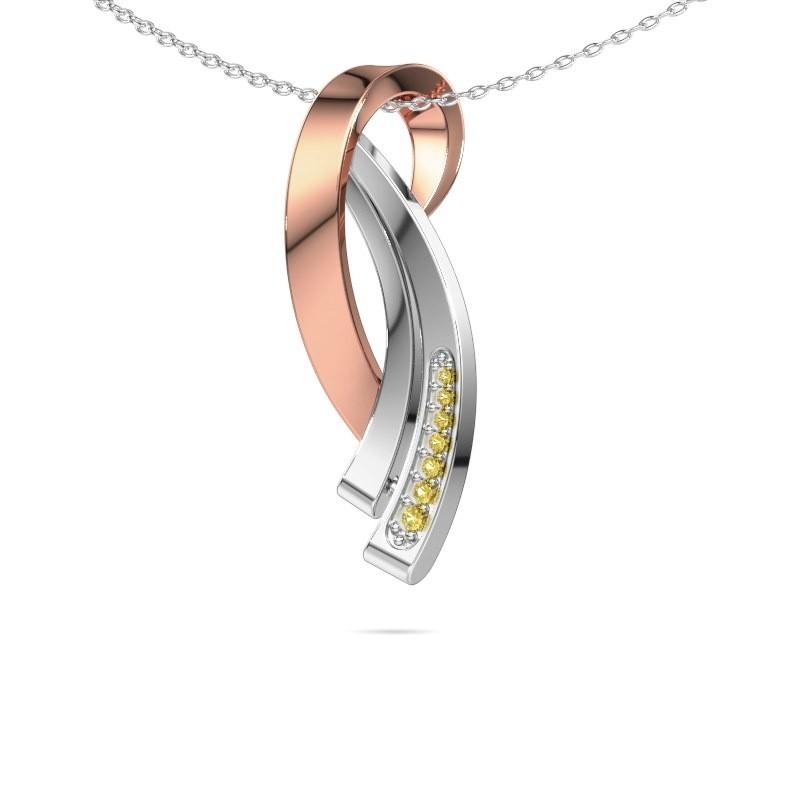 Ketting Lida 585 rosé goud gele saffier 1 mm