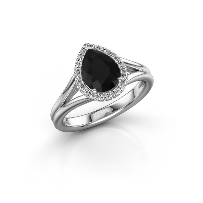 Verlovingsring Elenore 585 witgoud zwarte diamant 1.287 crt