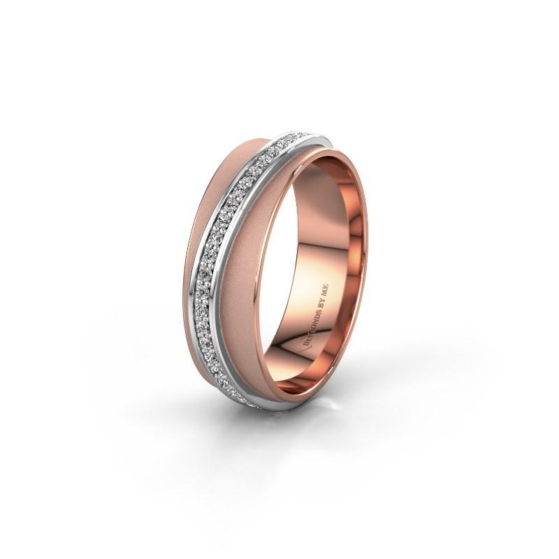 Weddings ring WH2126L 585 rose gold diamond ±6x1.7 mm