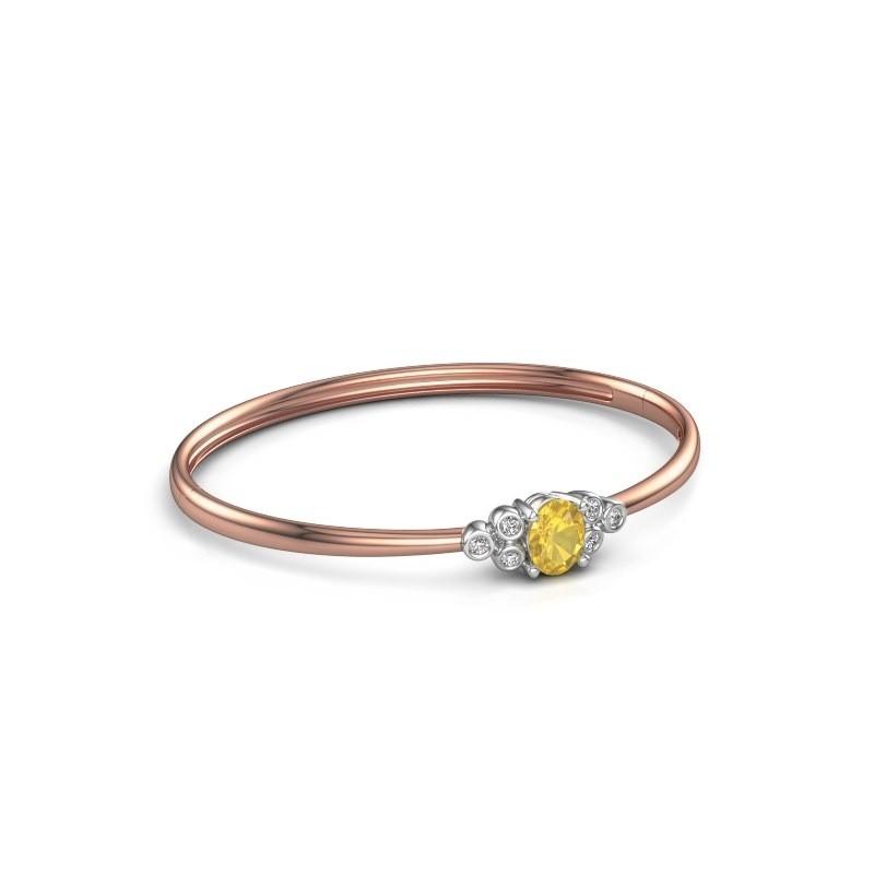 Slavenarmband Lucy 585 rosé goud gele saffier 8x6 mm