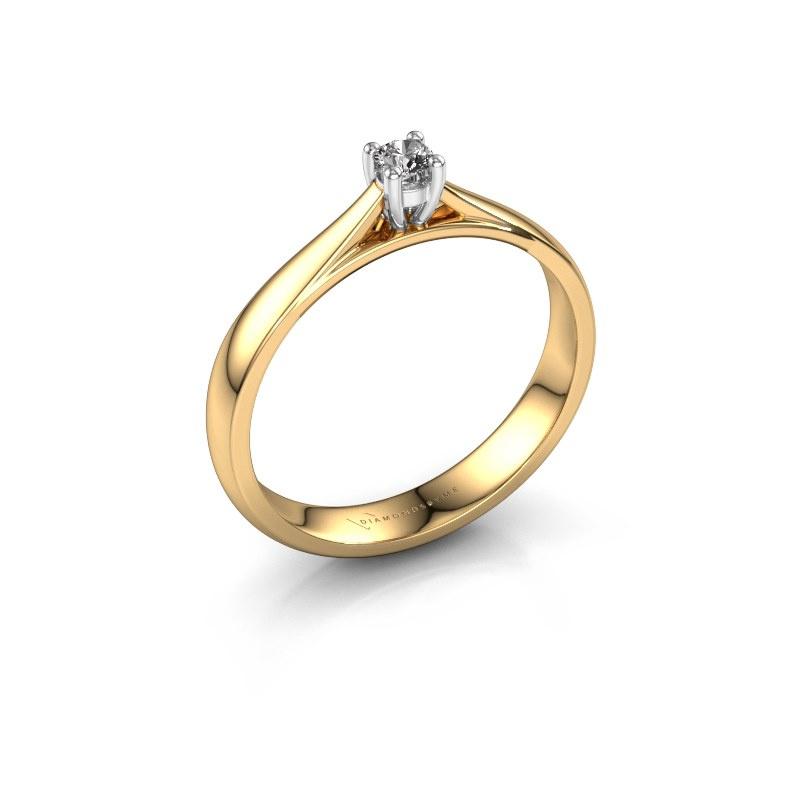 Bague de fiançailles Sam 585 or jaune diamant 0.08 crt