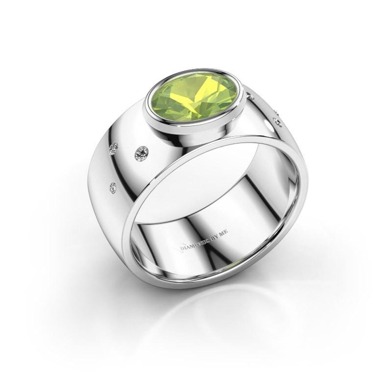 Ring Wilma 2 925 zilver peridoot 8x6 mm