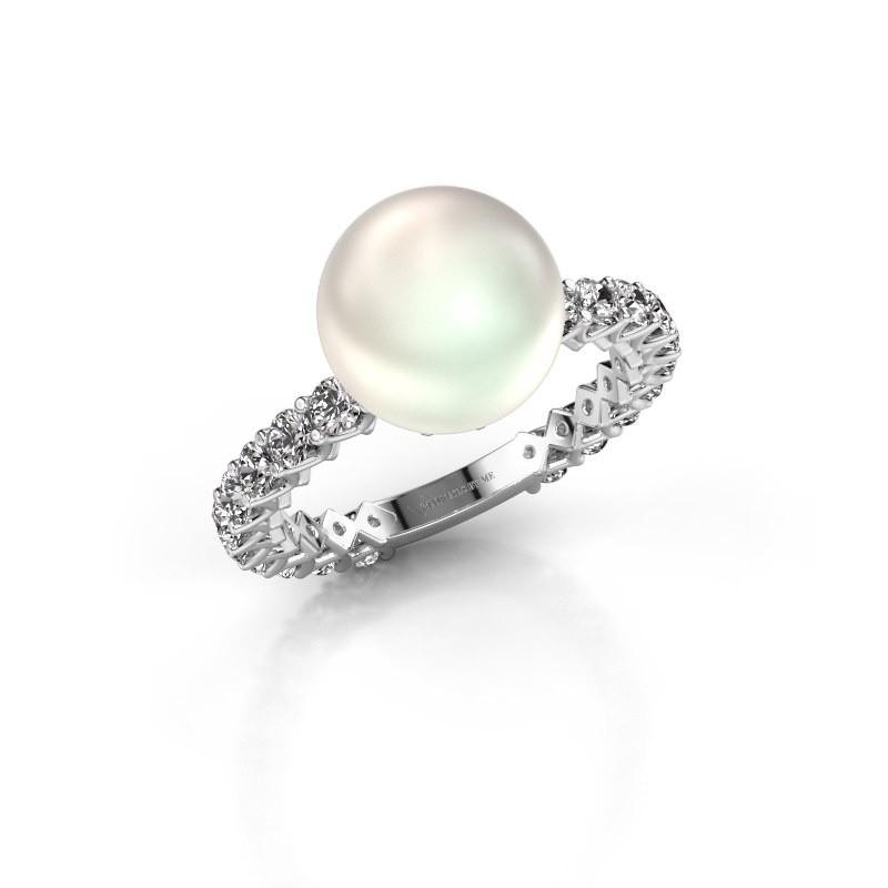 Ring Nele 585 witgoud witte parel 9 mm