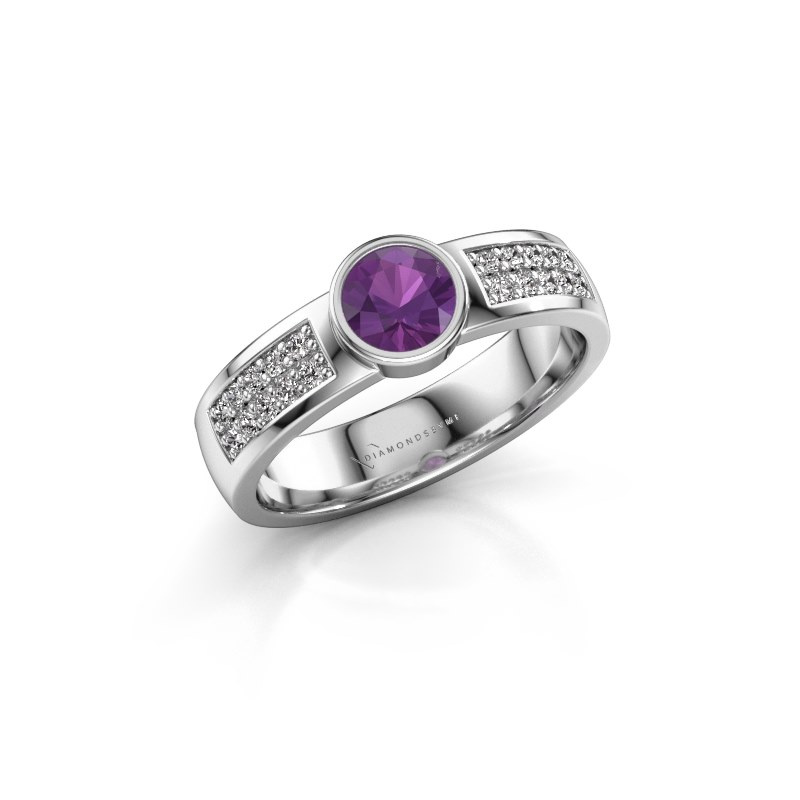 Engagement ring Ise 3 925 silver amethyst 4.7 mm