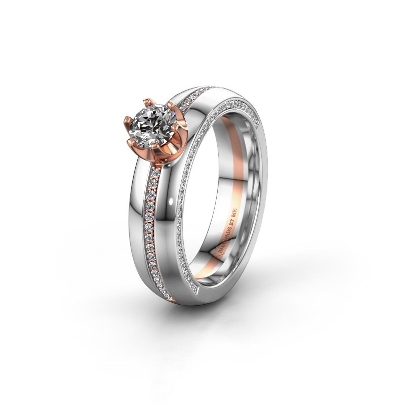 Huwelijksring WH0416L25E 585 rosé goud zirkonia ±5x2.6 mm