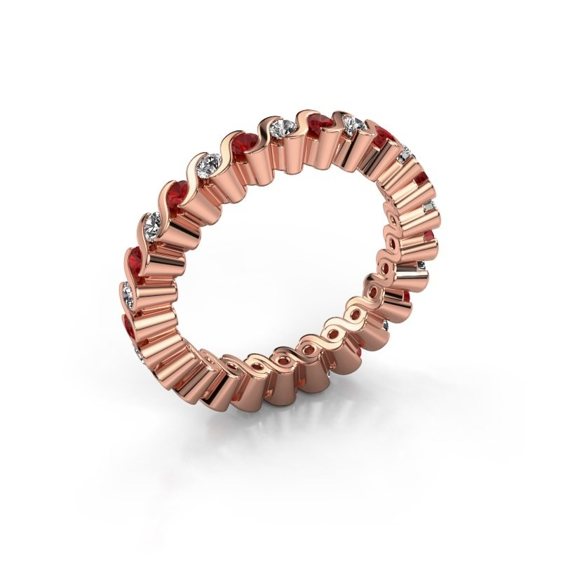 Bague superposable Faye 375 or rose rubis 2 mm