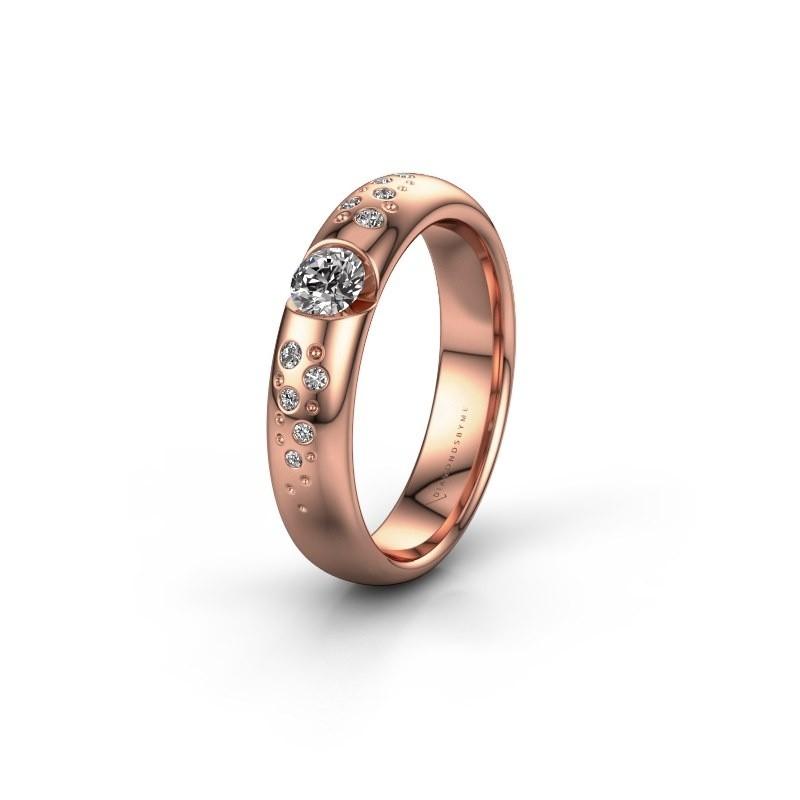 Trouwring WH2104L34A 375 rosé goud zirkonia ±4x1.7 mm