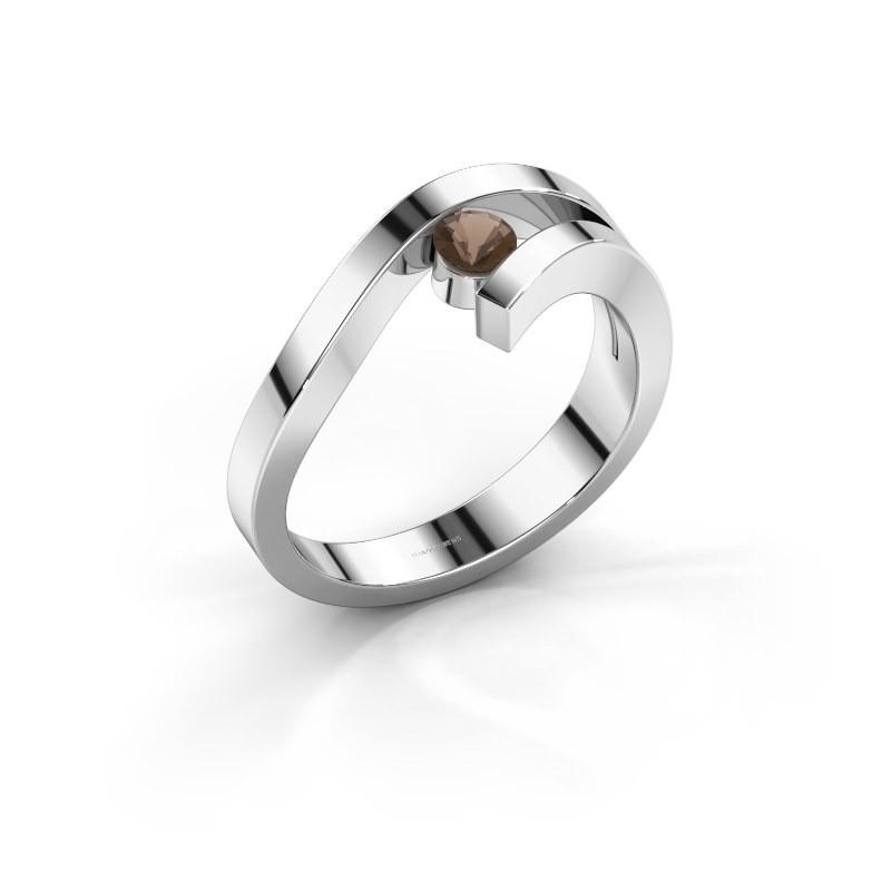 Ring Evalyn 1 925 zilver rookkwarts 3.7 mm