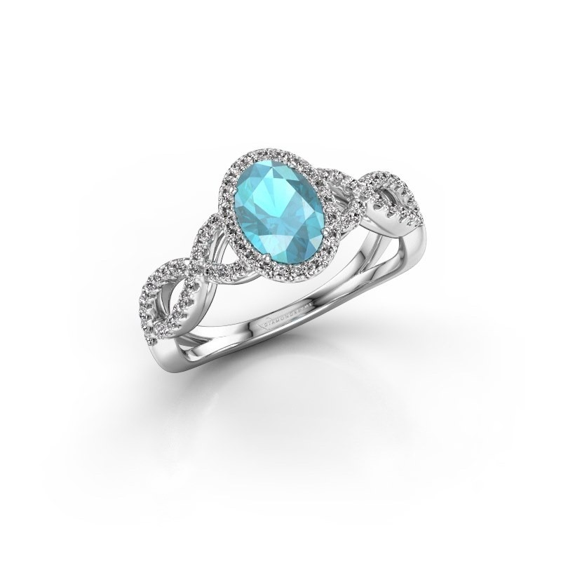 Engagement ring Dionne ovl 925 silver blue topaz 7x5 mm
