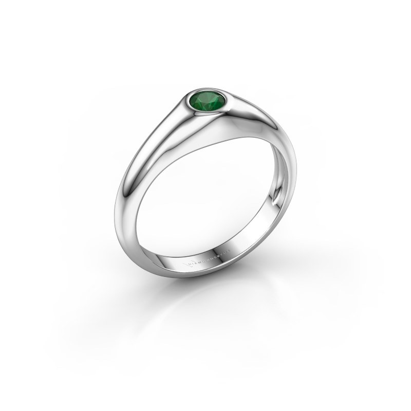 Pinky ring Thorben 375 white gold emerald 4 mm