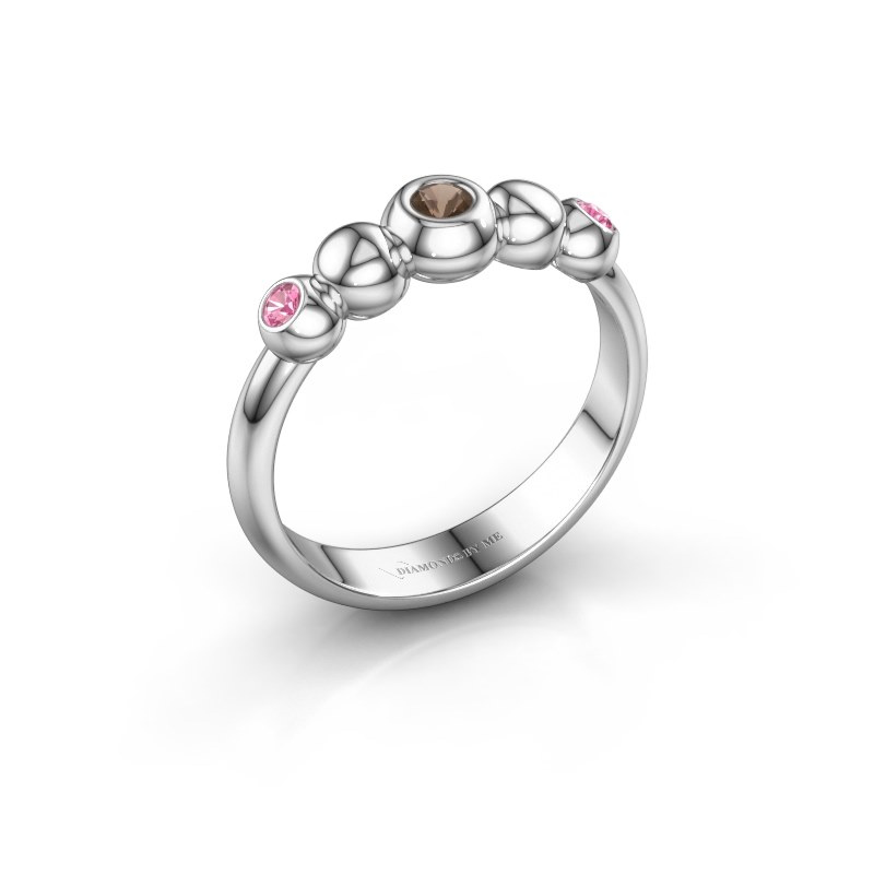 Stackable ring Lily 925 silver smokey quartz 2.5 mm