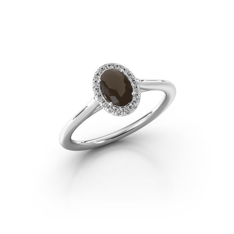 Engagement ring Seline 1 925 silver smokey quartz 6x4 mm