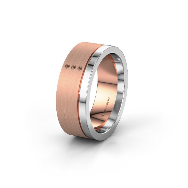 Trouwring WH0325L17APM 585 rosé goud bruine diamant ±7x1.7 mm