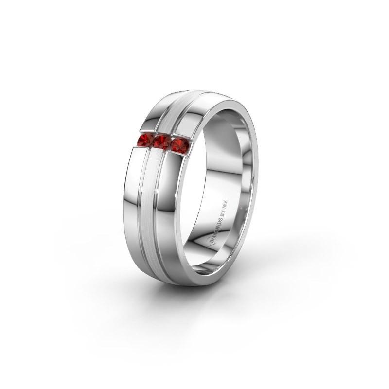 Wedding ring WH0426L26A 585 white gold garnet ±0.24x0.07 in