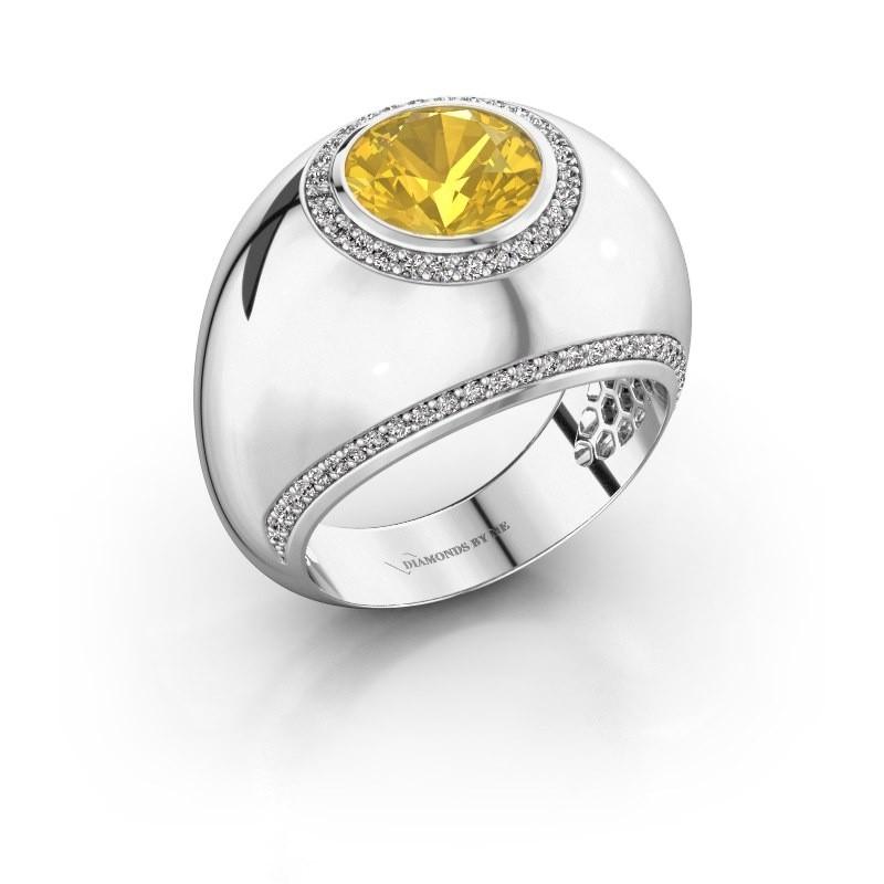 Ring Roxann 585 witgoud gele saffier 8 mm