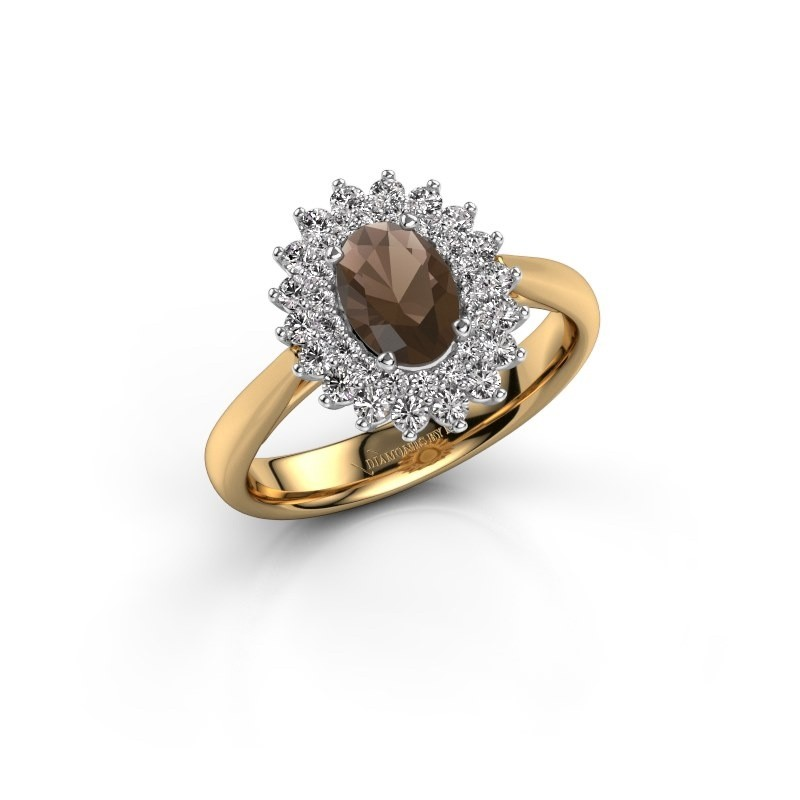 Verlovingsring Alina 1 585 goud rookkwarts 7x5 mm
