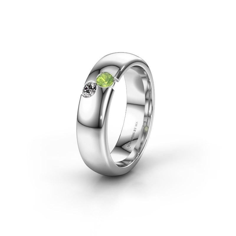 Wedding ring WH1003L26C 925 silver peridot ±6x2.2 mm