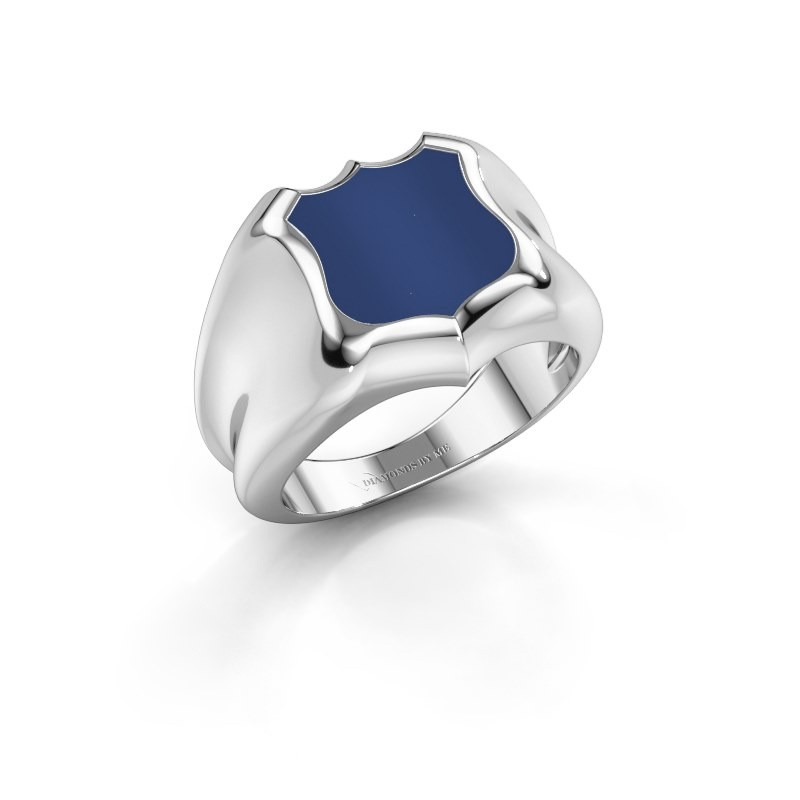 Signet ring Nevin 375 white gold lapis 12x12 mm