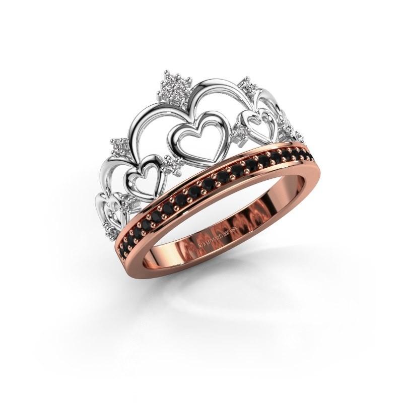 Ring Kroon 2 585 rose gold black diamond 0.269 crt