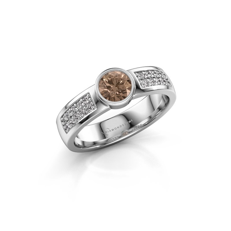 Engagement ring Ise 3 925 silver brown diamond 0.55 crt
