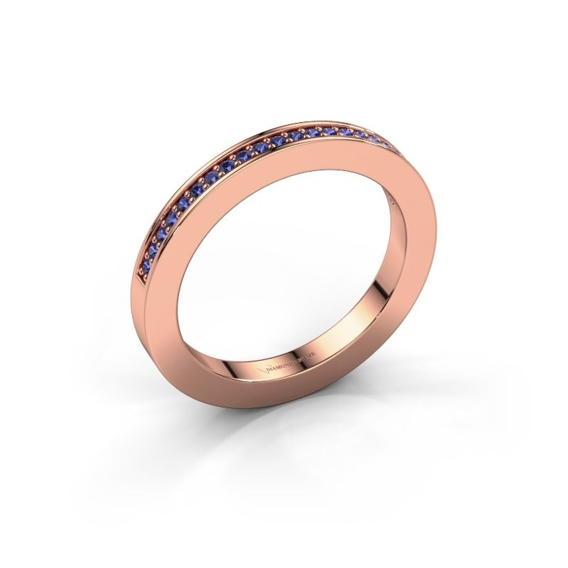 Stackable ring Loes 2 375 rose gold sapphire 1.1 mm