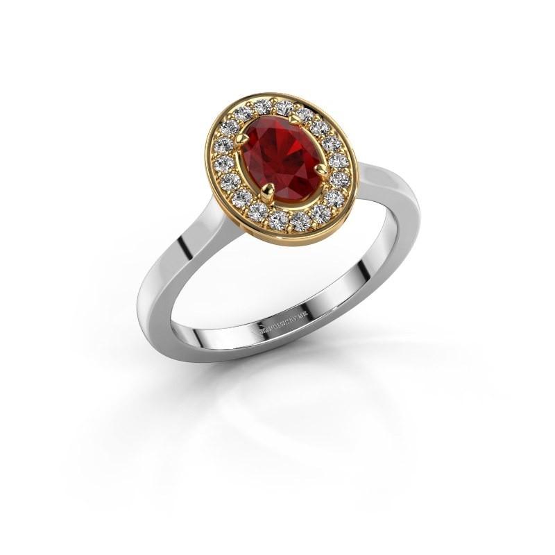 Ring Madelon 1 585 witgoud robijn 7x5 mm