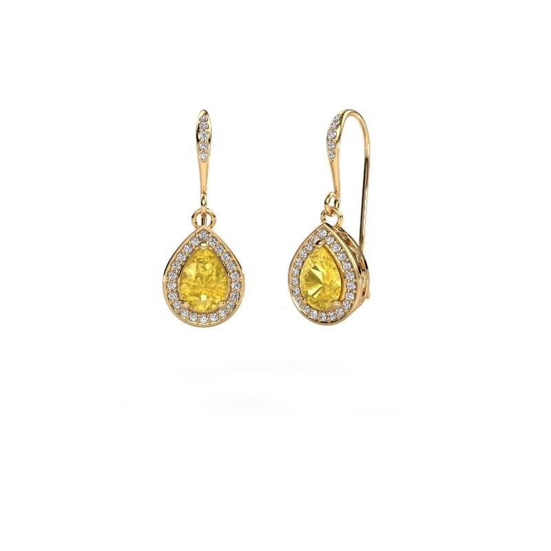 Drop earrings Beverlee 2 375 gold yellow sapphire 7x5 mm